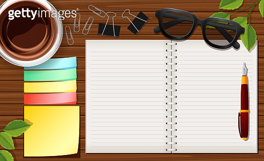 Office desk close up with notebook and clip paper and coffee cup cartoon style