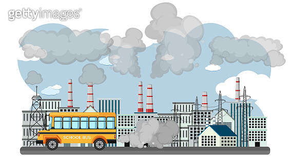 Scene with school bus and factory buildings polluting the air