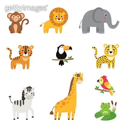 Childish collection of cute cartoon African animals.