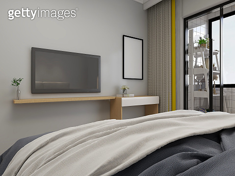 3D rendering, elegant and spacious bedroom design of modern apartment, overcoat cabinet beside the big bed,