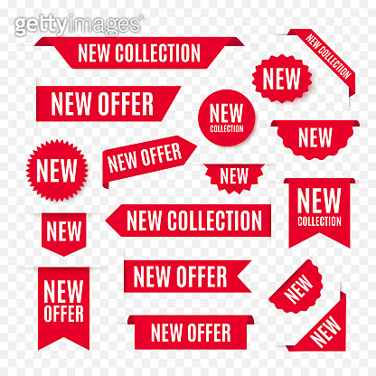 New Collection Offer Tags and Labels. Red ribbon Banners isolated on white background. Vector Promo Badges For Any Design Projects