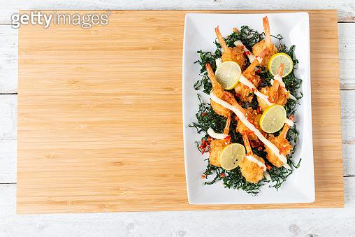 Fried Shrimp with Lime Cream Sauce and deep fried kale