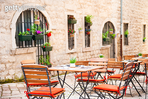 Cafe on the street in Old Town in Kotor, Montenegro.