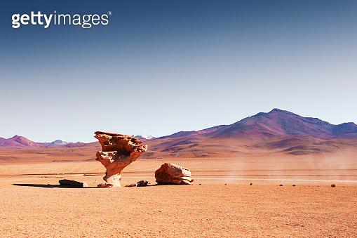 Stone tree Arbol de Piedra in the desert on plateau Altiplano, Bolivia