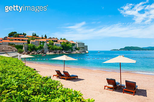 Sveti Stefan island with beautiful beach near Budva, Montenegro.