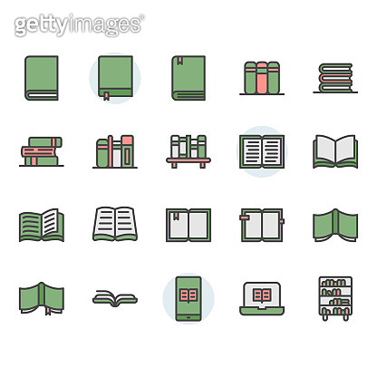 Book related icon and symbol set
