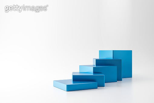 Blue pedestal of stairs or podium stand isolated on white background with business growth concept. Modern blue ladder display. 3D rendering.