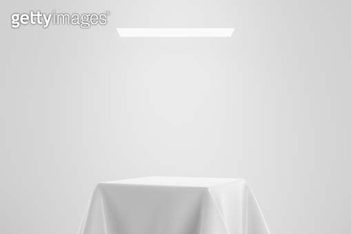 White fabric on pedestal or podium display with satin textile platform concept on studio background. Blank shelf stand for showing product. 3D rendering.