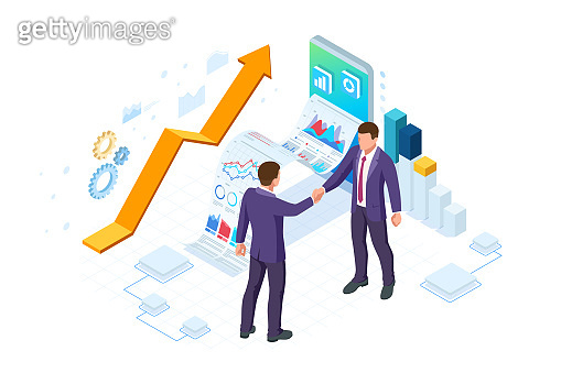 Isometric Business to Business Marketing, B2B Solution, business marketing concept. Two business partners shaking hands.