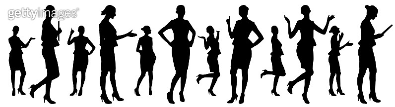Businesswoman in different poses, a set of silhouettes. Vector illustration