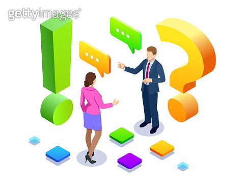 Isometric man and woman standing near exclamations and question marks. Ask questions and receive answers. FAQ and Q A, online support center.