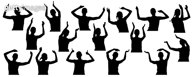 Woman in concert, clapping hands, waving hands, set of silhouettes. Vector illustration.