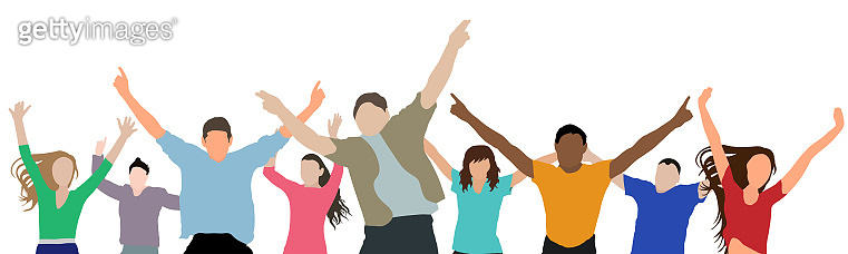 Happy crowd of people. Concept of victory, happiness, success and etc. Applied clipping mask. Vector illustration