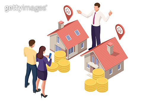 Isometric real estate agent with house model and keys. Buying, selling or renting real estate
