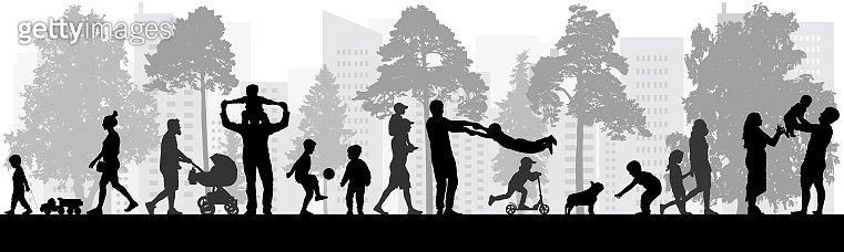Happy people walking in park, silhouettes. Vector illustration.
