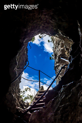 Hiking Trail With Exit From A Cave At Steinwandklamm In Austria