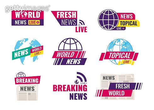 TV title news bar logos. Set of journalism conceptual logo.