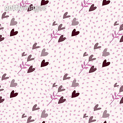 Heart flowers love seamless pattern. White background with dots. Grey and lilac color ornament.