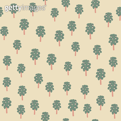 Apple tree with leaves and fruit seamless pattern on light background.