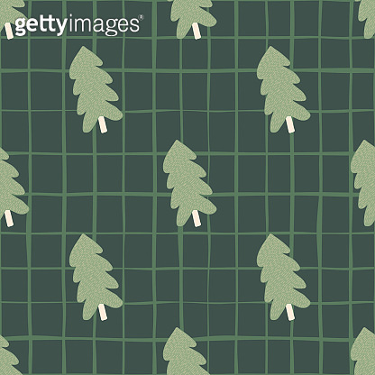 Christmas pine tree seamless pattern. For fabric design, textile print, wrapping, cover.