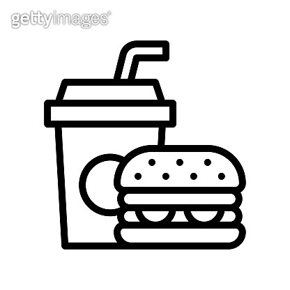 free time related spicy burger and cold drink with pipe vector in lineal style,