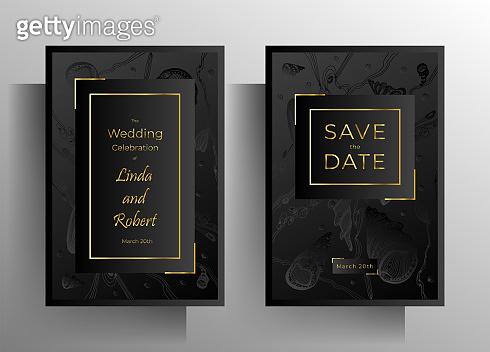 Wedding invitation template set.