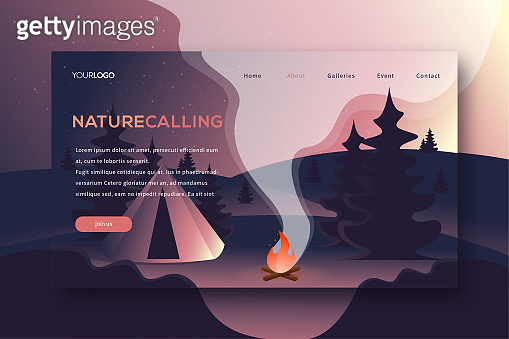 Camping landing page vector web template