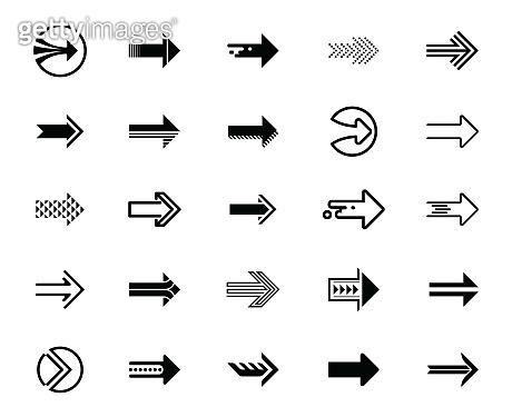 Vector illustration of black arrow icons set