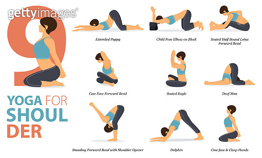 9 Yoga poses or asana posture for workout in Shoulder concept. Women exercising for body stretching. Fitness infographic. Flat cartoon vector.