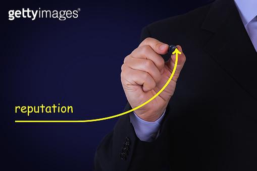 Businessman draw growing line symbolize growing Reputation