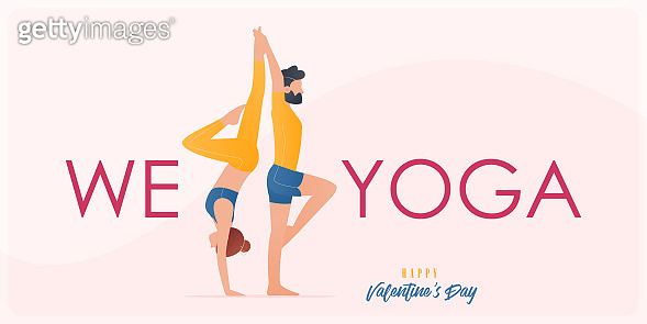 Happy Valentine's day  banner with couple yoga poses. Year of good health. Landing page design templates for Valentine's day decoration in partner yoga concept. Vector.