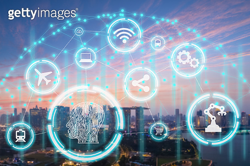 Smart city, wireless technology, communication concept, New generation of Modern city connect with intelligence technologies futuristic icons added