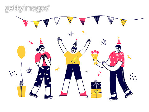 Vector characters have fun celebrating birthdays, parties, corporate parties. Flat vector illustration.