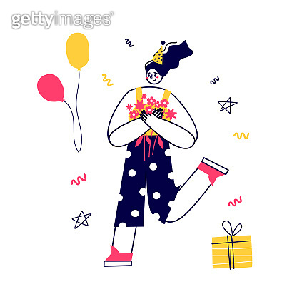Vector funny character celebrates. Give gifts, enjoy the holiday, eat cake. A birthday party. Flat vector illustration.
