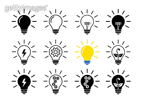 Set Of Light Bulb Flat Icons, Linear And Black. Collection Of Lighting Electric Lamps. Simple Pictograms, 12 Items.