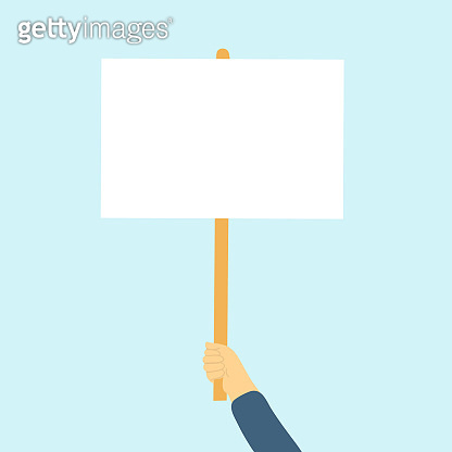 Hand holding blank poster, banner, manifestation sign placard vector. Blank vote placard or peace protest poster flat cartoon design