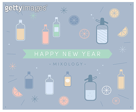 Happy New Year Mixology! Fun cocktail mocktail soda bottle with liquid. Cut lemons oranges citrus fruit. Pastel colors. Retro 1950s 1960s style. Alcoholic non-alcoholic drink mixing icons in graphic design elements layout, vector illustration, caps text.
