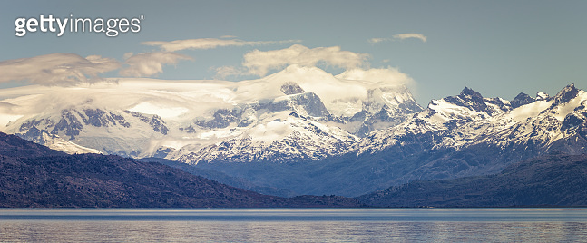 Beautiful panoramic view of the Chilean ice fields, surrounding the General Carreras lake, in the Aysén region, Patagonia, Chile