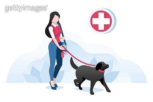 Dog and woman, animals at veterinarian clinic. Girl with pet, people on dog care. Walking puppy, pet at clinic for animals. Puppy character, cartoon concept Isometric Illustration Vector Design.