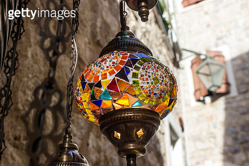bright lamp of glass mosaic, a souvenir for tourists