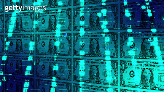 One hundred dollar bill with protective face mask in a digital space with dna microarray concept. Coronavirus pandemic in USA.