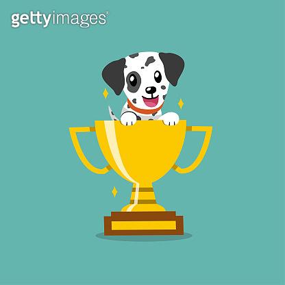 Cartoon vector character dalmatian dog with gold trophy cup award