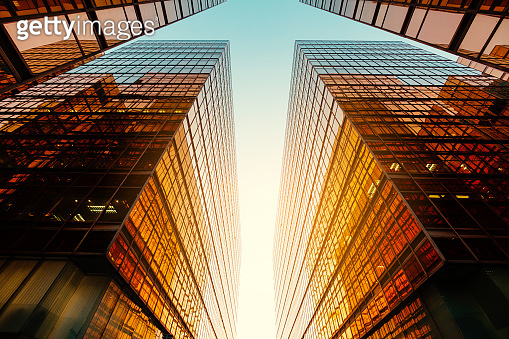 modern office building, sun reflection on glass facade