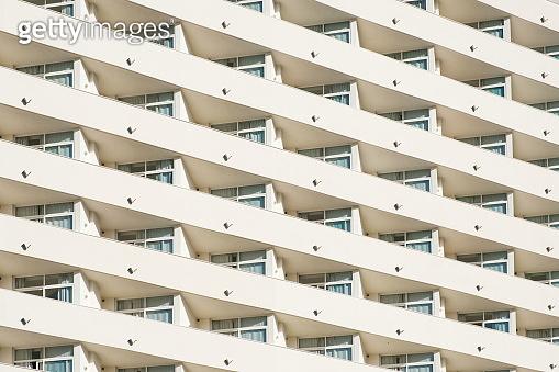 big hotel or apartment building facade   balcony pattern