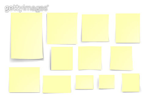 yellow stick note paper isolated on white background, vector illustration  -