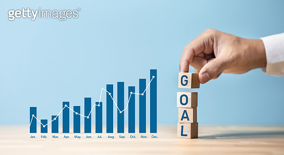 Business goal and profit with graph chart.financial growing.investor making money.vision to success
