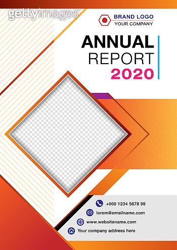 Annual report cover with line stripe orange color