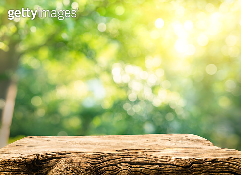Real wood table top texture on blur leaf tree garden background.For create product display