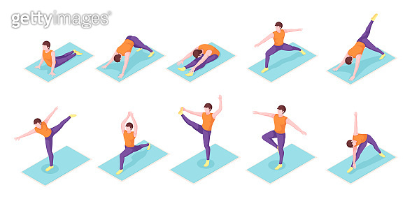 Man yoga poses exercise on yoga mat, vector isometric icons. Boy man body balance and stretch, sport and fitness workout, or pilates workout, mediation posture and wellness activity