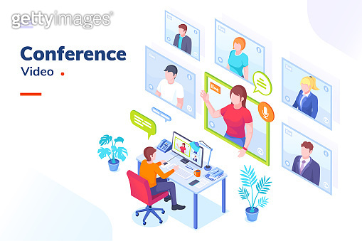 Video conference internet meeting and live video chat isometric vector illustration. Business video call and online communication for remote education, webinar or office chat, video conference call